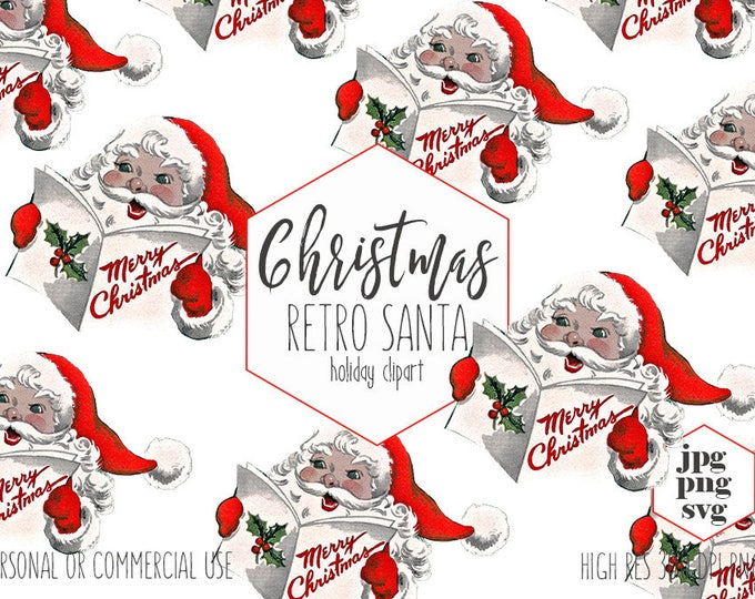 RETRO SANTA CLAUS Clipart for Commercial Use Vintage Holiday Clip Art Merry Christmas Invitation Kids Digital Graphics Vector Svg Png Jpg