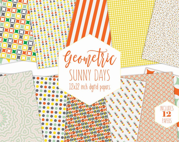 BRIGHT YELLOW Digital Paper Pack Summer Kids Backgrounds Orange Sunny Scrapbook Papers Geometric Patterns Birthday Party Printable Clipart