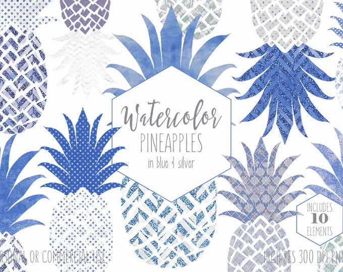 SILVER & BLUE PINEAPPLE Clipart Commercial Use Clip Art Fun Tropical Fruit with Metallic Glitter Blue Watercolour Pineapple Planner Graphics
