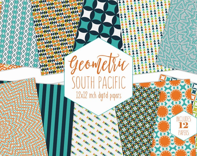 TEAL ORANGE & NAVY Blue Digital Paper Pack Bohemian Backgrounds Tribal Arrow Scrapbook Paper Geometric Patterns Party Printable Boys Clipart