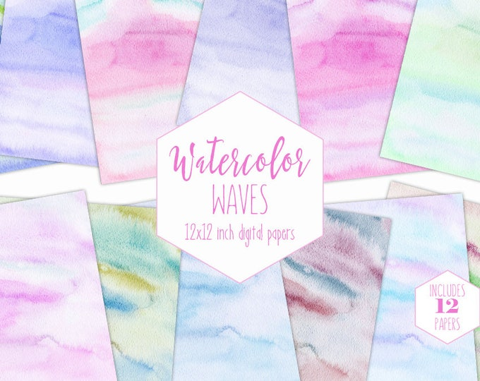 PASTEL WATERCOLOR WASH Digital Paper Pack Commercial Use Rainbow Backgrounds Easter Scrapbook Papers Watercolor Textures Baby Shower Clipart