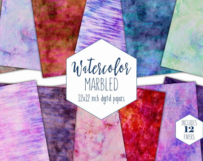 WATERCOLOR MARBLE Digital Paper Pack Commercial Use Backgrounds Pink Purple Mint Red Blue Scrapbook Papers Marbled Watercolour Textures