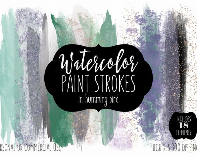 MINT WATERCOLOR Paint Strokes Clip Art Commercial Use Clipart Watercolour Brush Strokes Blog Header Purple Gold Confetti Shop Logo Graphics