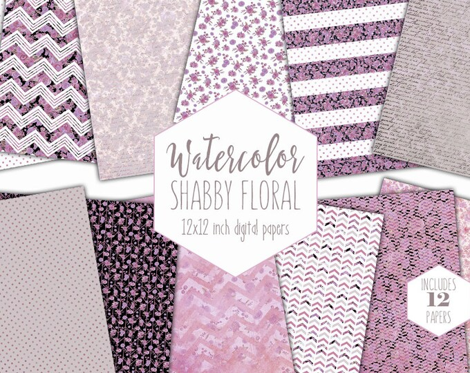 MAUVE PINK FLORAL Digital Paper Pack Commercial Use Gray Watercolor Backgrounds Shabby Chic Handwriting Scrapbook Papers Chevron Patterns