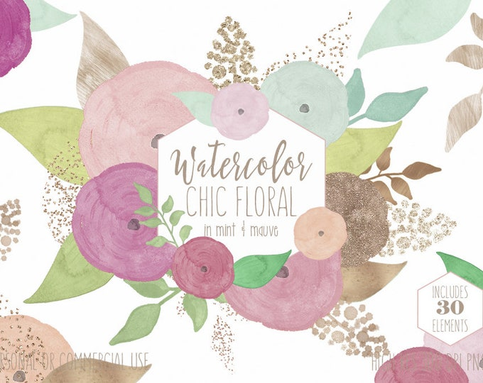 MAUVE & ROSE GOLD Watercolor Floral Clipart Commercial Use Clip Art Watercolour Flowers Metallic Confetti Roses Chic Wedding Floral Graphics