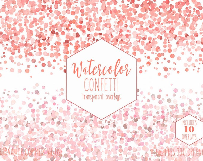 PEACH CONFETTI BORDER Clipart Commercial Use Clip Art 10 Watercolor Confetti Overlays Orange Coral Pink Pumpkin Wedding Invitation Graphics