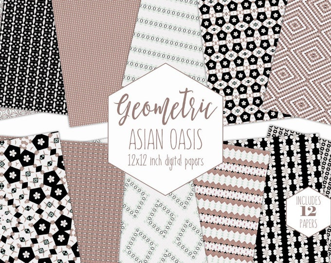 ROSE GOLD Digital Paper Pack Geometric Black & White Backgrounds Orchid Cherry Blossom Wedding Scrapbook Paper Asian Patterns Commercial Use