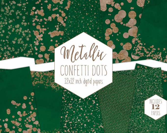 ROSE GOLD FOIL & Emerald Green Digital Paper Pack Confetti Dot Background Metallic Scrapbook Paper Holiday Christmas Party Printable Clipart
