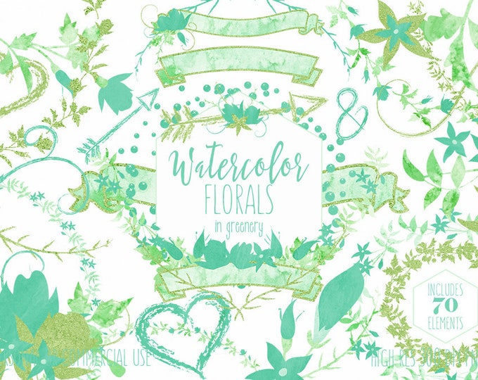 WATERCOLOR FLORAL Clipart Commercial Use Clip Art Greenery Wedding Flowers Teal & Mint Flower Bouquets Floral Wreaths Banners Arrow Graphics