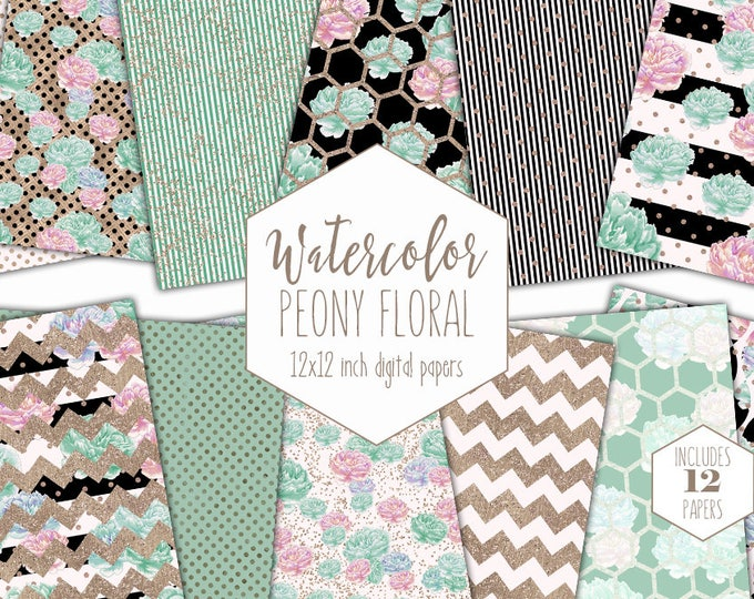 MINT WATERCOLOR FLOWER Digital Paper Pack Blush Pink & Rose Gold Metallic Commercial Use Backgrounds Peony Shabby Chic Scrapbook Patterns