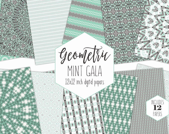 GRAY & MINT Digital Paper Pack Tribal Backgrounds Mandala Scrapbook Paper Bohemian Geometric Patterns Party Printable Commercial Use Clipart