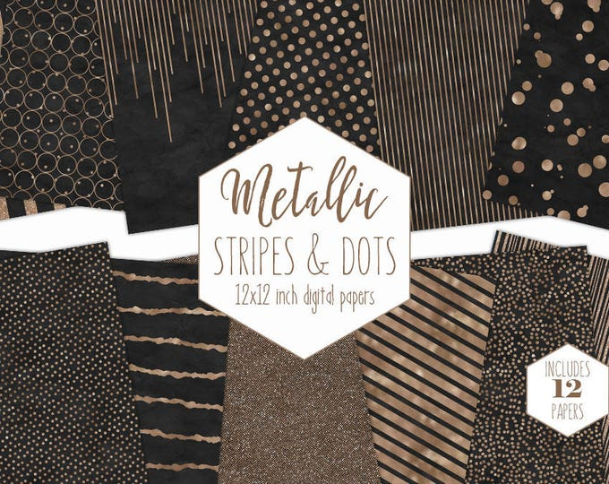 BLACK & ROSE GOLD Digital Paper Pack Stripe Backgrounds Metallic Foil Confetti Scrapbook Paper Polka Dot Wedding Patterns Chic Party Clipart