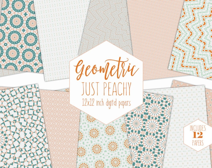 MINT & PEACH Digital Paper Pack Bohemian Backgrounds Boho Mandala Scrapbook Papers Geometric Medallion Patterns Party Printable Baby Clipart