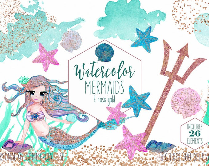 WATERCOLOR MERMAIDS Clipart Commercial Use Clip Art 26 Elements Aqua Pink Rose Gold Confetti Cute Shells Starfish Ocean Watercolor Graphics