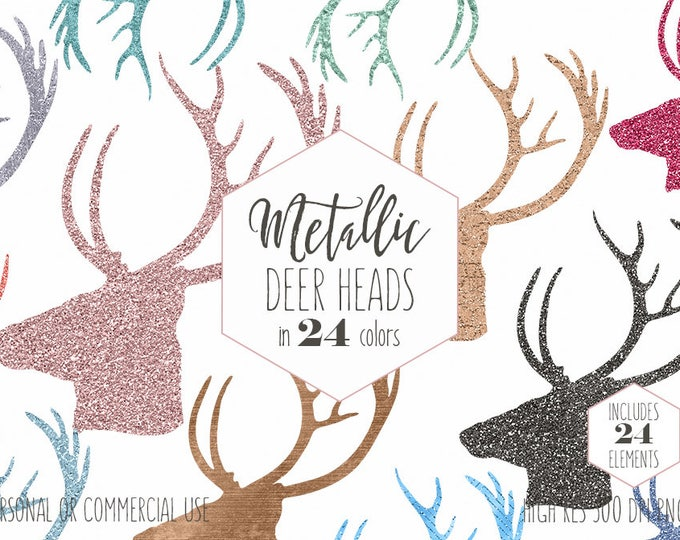 BUCK DEER HEAD Clipart for Commercial Use Clip Art Metallic Rose Gold Deer Antlers Rustic Woodland Forest Vector Shapes Digital Graphics Svg