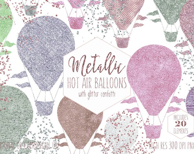 PINK HOT AIR Balloon Clipart for Commercial Use Clip Art Metallic Balloon Images with Confetti Blush Mint Purple Party Baby Digital graphics