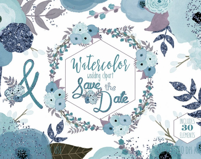 BLUE FLORAL WEDDING Clipart Commercial Use Clip Art Aqua Metallic Confetti Leaves Vines Flower Wreaths Save the Date Invitation Graphics
