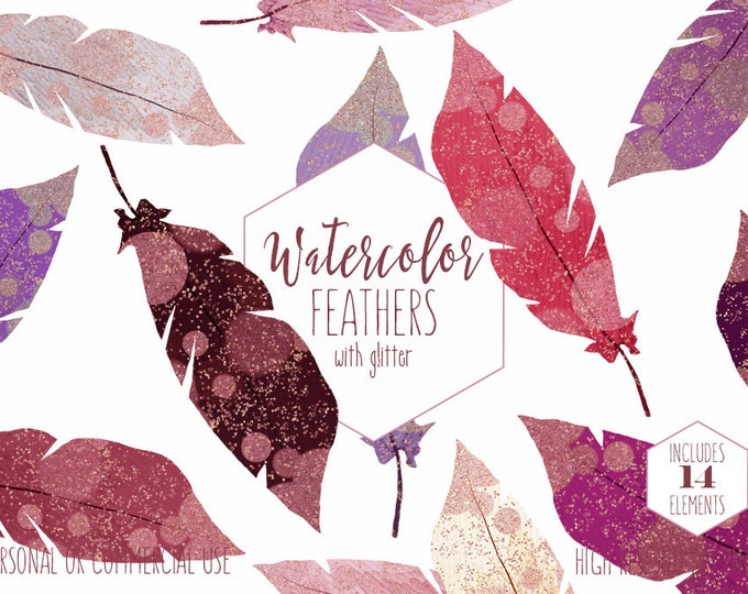 WATERCOLOR FEATHER Clipart Commercial Use Clip Art Boho Chic Feathers Metallic Rose Gold Confetti Pink Burgundy Bohemian Feather Graphics