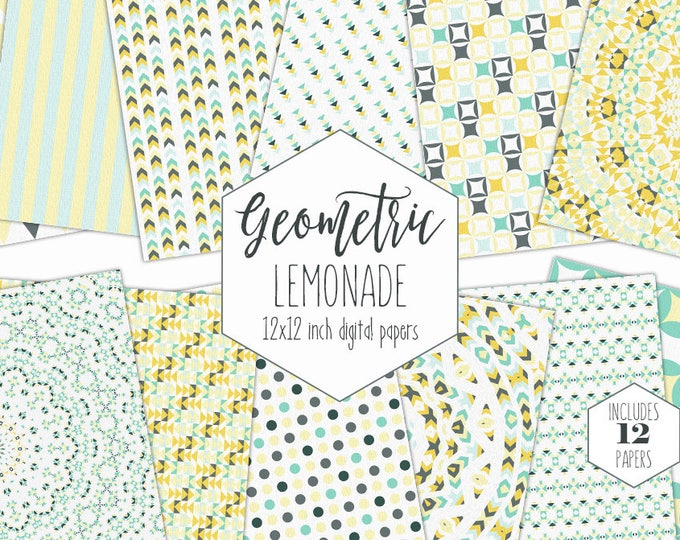 GRAY YELLOW & MINT Digital Paper Pack Summer Bohemian Background Boho Mandala Scrapbook Paper Geometric Triangle Stripe Pattern Baby Clipart