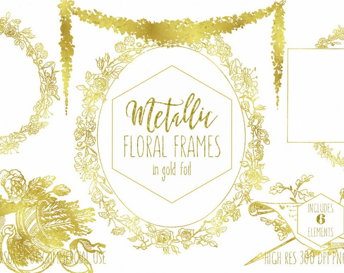 GOLD FOIL FRAME Clipart for Commercial Use Clip Art Metallic Floral Wreaths Garland & Arrow Elegant Gold Wedding Invitation Digital Graphics