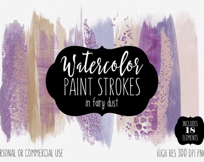 PURPLE PAINT STROKES Clip Art Commercial Use Clipart Watercolor Brush Strokes Lavender Blush Pink Confetti Watercolour Texture Logo Graphics
