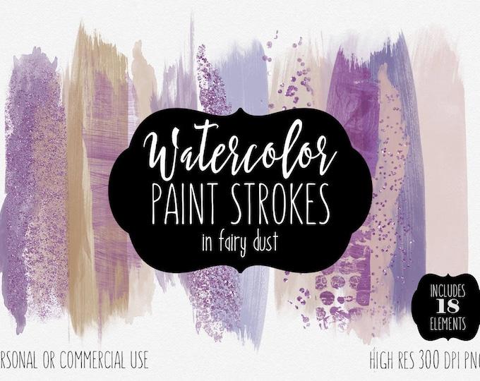 PURPLE PAINT STROKES Clip Art Commercial Use Clipart Watercolor Brush Strokes Lavender Blush Pink Confetti Watercolour Texture Logo Graphics