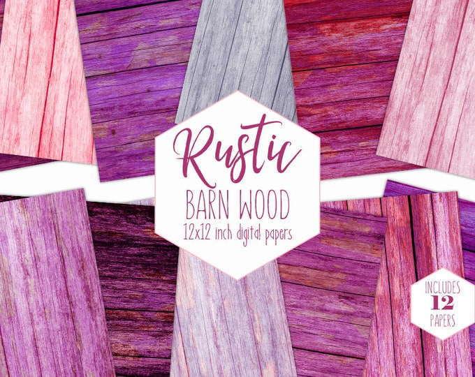 RUSTIC WOOD Digital Paper Pack Pink & Purple Wood Grain Backgrounds Wooden Plank Scrapbook Papers Painted Wood Textures Barn Wood Clipart