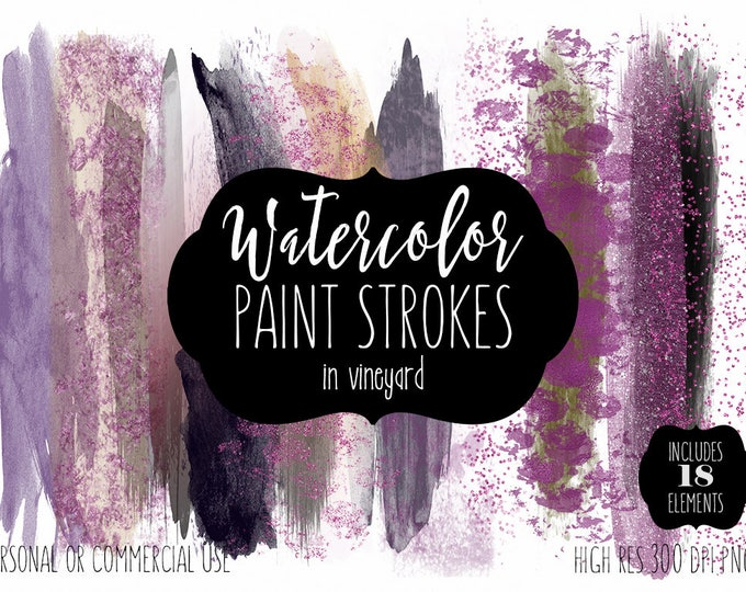 WINE WATERCOLOR Brush Strokes Clip Art Commercial Use Clipart Watercolour Paint Blog Headers Purple Burgundy Confetti Shop Logo Graphics