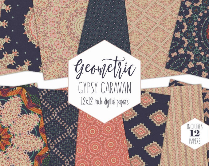 NAVY BLUE BOHEMIAN Digital Paper Pack Gypsy Caravan Background Peach Floral Mandala Scrapbook Paper Geometric Lace Pattern Boho Chic Clipart