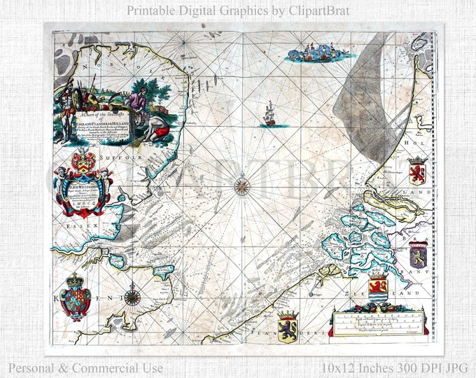 ANTIQUE SEA CHART Sea Atlas Map Commercial Use Ok Nautical Map 1672 Vintage Map Print Vintage Holland Map Sea Atlas Antique Map Print