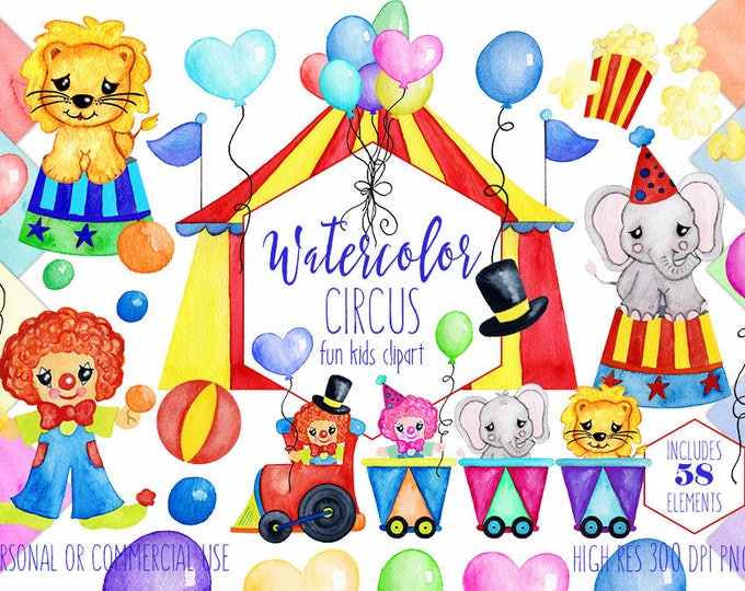 WATERCOLOR CIRCUS Clipart Commercial Use Clip Art Watercolour Train Animals Balloons Clowns Lion Elephant Fun Birthday Clipart Digital Paper