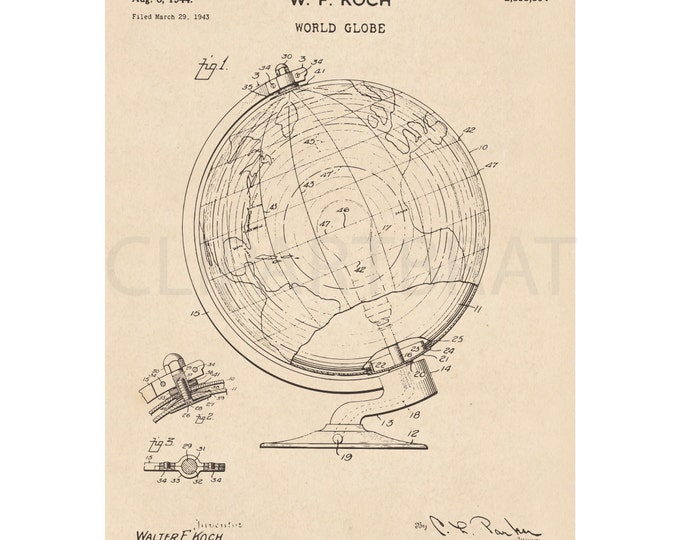 1944 WORLD GLOBE Printable Art Print Intsant Download Globe Diagram Digital Print Patent Vintage World Globe wall Art Printable Poster Art