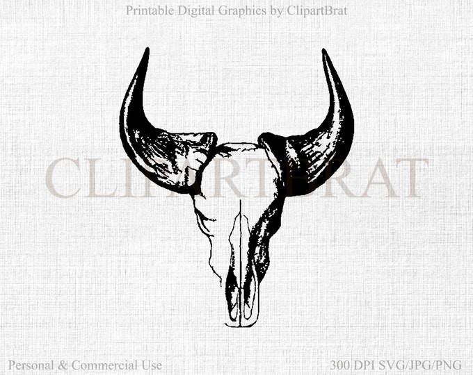 COW SKULL Clipart Comercial Use Clipart Skull Skeleton Graphic Digital Collage sheet Fabric Transfer Clipart Cow Vector Graphic Jpg/Png/Svg