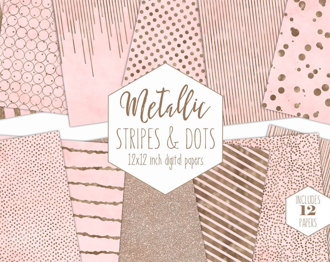 BLUSH & ROSE GOLD Digital Paper Pack Stripe Backgrounds Metallic Foil Confetti Scrapbook Paper Polka Dot baby Girl Patterns Pink Clipart