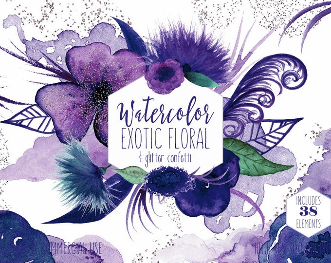 PURPLE & NAVY WATERCOLOR Floral Clipart Commercial Use Clip Art 38 Exotic Flowers Feathers Silver Confetti Watercolour Paint Splash Graphics