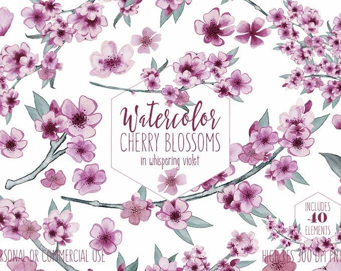 CHERRY BLOSSOM FLORAL Clipart Commercial Use Clip Art Violet Light Purple Watercolor Sakura Branches Flower Wreath Elegant Wedding Graphics