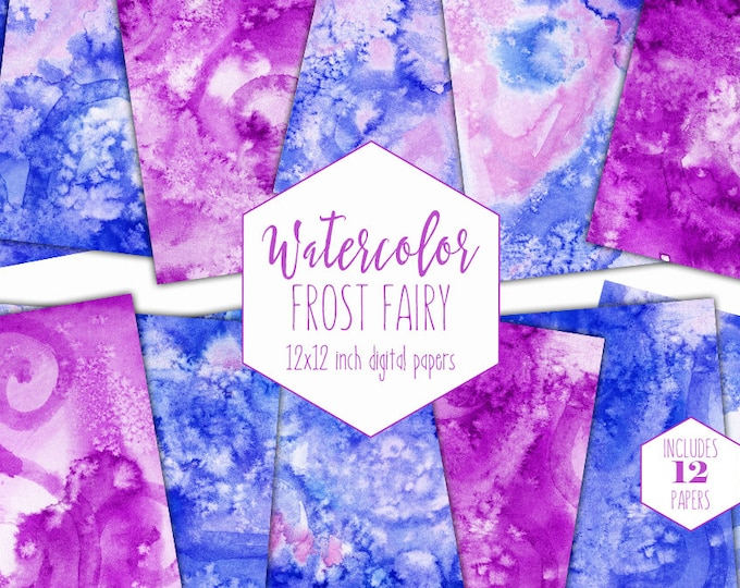 PINK & BLUE WATERCOLOR Digital Paper Commercial Use Backgrounds Scrapbook Papers Chic Cute Frost Fairy Hand Painted Real Watercolor Textures