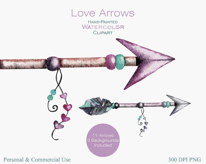 WATERCOLOR ARROWS Clipart Commercial Use Clipart 11 Arrow Graphics & 3 Watercolor Backgrounds Blush Pink Mint Arrow Tribal Clip art Arrows