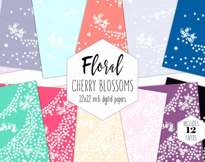 WEDDING FLORAL Digital Paper Pack Cherry Blossom Backgrounds Rainbow Floral Scrapbook Papers Flower Branch Patterns Party Printable Clipart