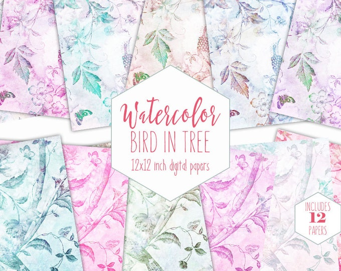 BIRD IN TREE Watercolor Digital Paper Pack Commercial Use Backgrounds Butterfly Floral Scrapbook Paper Flowers Branches Watercolour Patterns