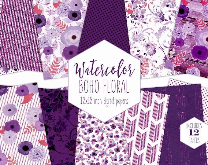 BOHEMIAN WATERCOLOR FLORAL Digital Paper Pack Dark Purple Metallic Commercial Use backgrounds Chic Wood Arrow Wedding Scrapbook Patterns