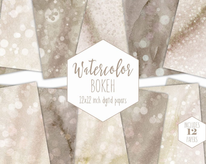 BEACH SAND WATERCOLOR Digital Paper Pack Commercial Use Tan Backgrounds Cream Bokeh Scrapbook Papers Brown Watercolour Textures Dot Clipart