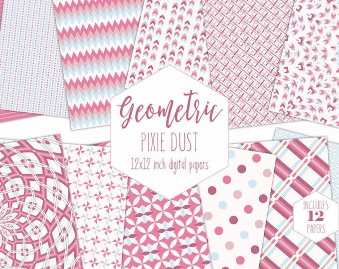 BLUSH PINK Digital Paper Pack Baby Girl Backgrounds Mandala Scrapbook Paper Chevron Geometric Pattern Party Printable Commercial Use Clipart