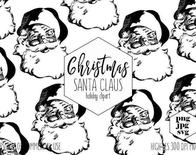 CHRISTMAS SANTA Clipart for Commercial Use Vintage Holiday SVG Clip Art Jolly Santa Clause Face & Hat Vector Digital Graphics for Kids