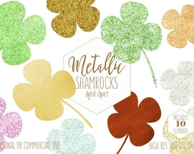 LUCKY CLOVER CLIPART St. Patrick's Day Shamrock Planner Sticker Clip Art Metallic Gold Four 4 Leaf Clovers Digital Graphics Commercial Use