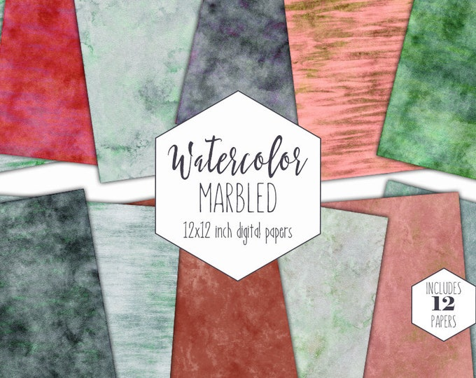 MINT WATERCOLOR MARBLE Digital Paper Pack Commercial Use Backgrounds Peach Stripes Scrapbook Papers Green Marbled Watercolour Wash Textures