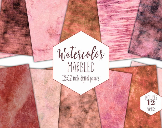 PINK WATERCOLOR MARBLE Digital Paper Pack Commercial Use Peach Background Rust Stripe Scrapbook Paper Blush Marbled Watercolor Wash Textures