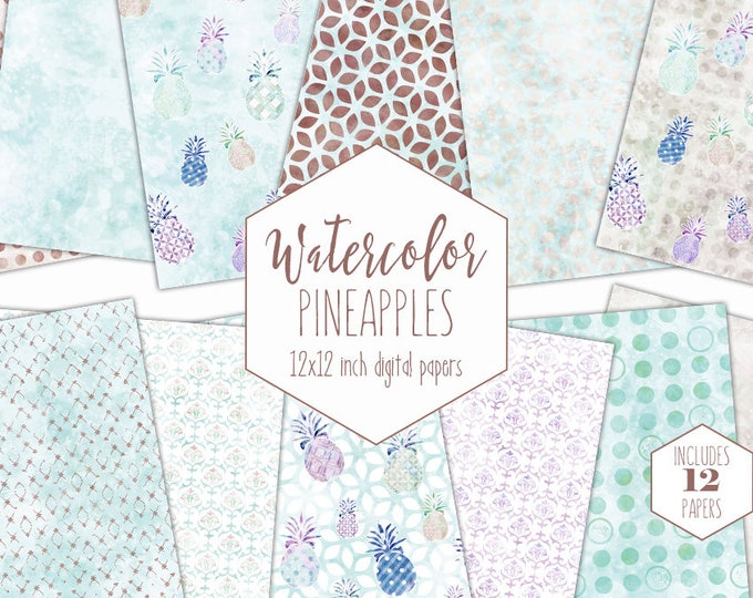 TROPICAL PINEAPPLE Digital Paper Pack Commercial Use Backgrounds Scrapbook Papers Aqua Brown Pineapples Watercolour Texture Geometric Prints