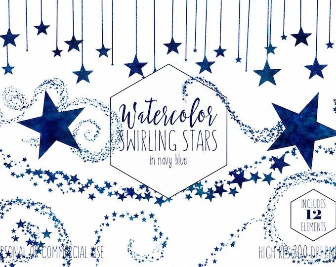 NAVY BLUE WATERCOLOR Star Clipart Commercial Use Clip Art Royal Star Trail Celestial Sky Swirls Confetti Border Baby Boy Invitation Graphics