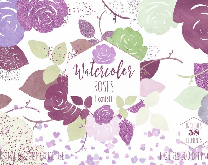 VALENTINES DAY FLORAL Watercolor Clipart Commercial Use Clip Art Burgundy & Mint Roses Leaves Heart Confetti Borders Wedding Invite Graphics